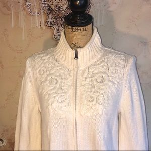Liz Claiborne Mock Neck Knit Floral Cream Sweater